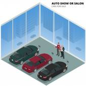 Commercially colorful cars stand in car shop Cars for sale Auto business car sale and people concept Auto show or salon Vector  flat isometric illustration