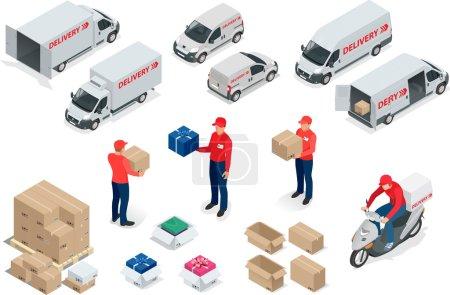 Illustration pour Livraison gratuite, Livraison rapide, Livraison à domicile Livraison gratuite, Livraison 24h / 24 Concept de livraison Livraison Express, livreur - image libre de droit