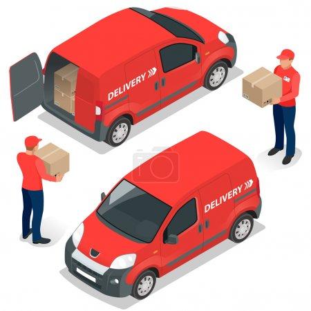 Illustration pour Livraison gratuite, livraison rapide, livraison à domicile, livraison gratuite, livraison 24 heures, concept de livraison, livraison express, livreur. Illustration isométrique de vecteur plat - image libre de droit