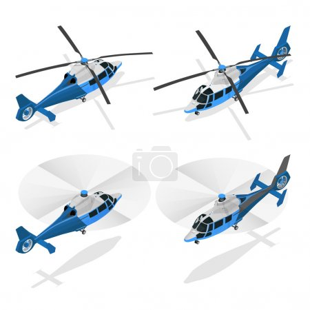 Helicopters isolated on white - flat 3d vector isometric illustration