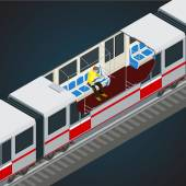 Interior view of a subway car Train Subway Transport Vehicles designed to carry large numbers of passengers  Flat 3d vector isometric illustration of a subway train