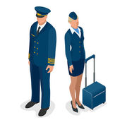 Captain of the aircraft and a beautiful flight attendant in a dark blue uniform isolated on white background Vector 3d flat isometric illustration
