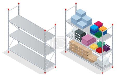 Illustration pour Intérieur de l'entrepôt. Entrepôt, marchandises. Étagères d'entrepôt vides. Illustration vectorielle isométrique 3D plate - image libre de droit