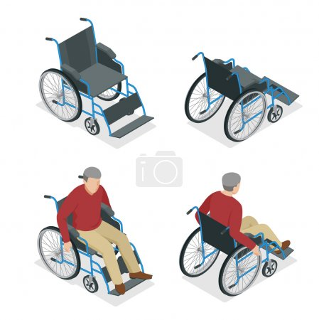 Wheelchair isolated. Man in Wheelchair. Flat 3d isometric vector illustration. International Day of Persons with Disabilities