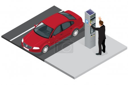 Isometric Parking meter. Parking meter did not give ticket. Parking meter error. Parking meter breaking. Flat 3d isometric vector illustration