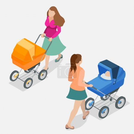 Mother pushing a baby stroller isolated against background. Isometric flat 3d vector illustration - mother with baby in stroller.