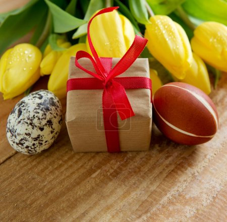 Easter eggs and gift box isolated.