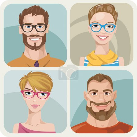 Set of four portraits of hipsters