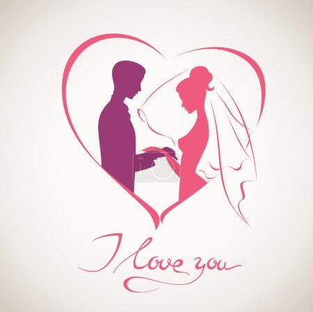 Illustration pour Carte de mariage avec je t'aime texte manuscrit - image libre de droit