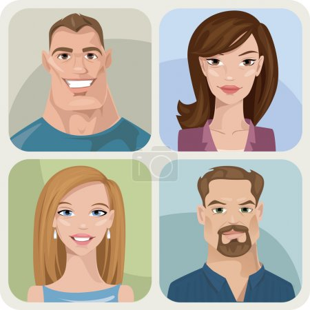Illustration for Set of four portraits of hipsters, two men and two women - Royalty Free Image