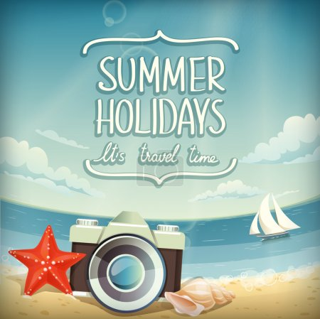 Illustration for Vector summer background with holidays elements - Royalty Free Image