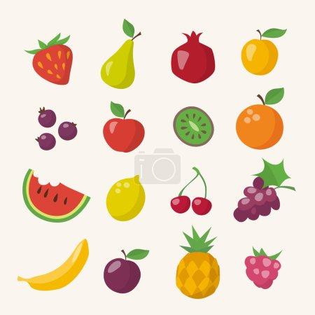 Illustration pour Icônes vectorielles de fruits différents dans un style plat - image libre de droit