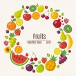 Fruits icons set in flat style in circle