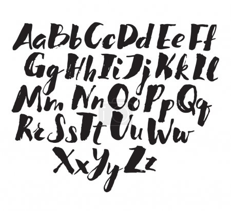 Illustration for Hand drawn alphabet written with brush pen. - Royalty Free Image