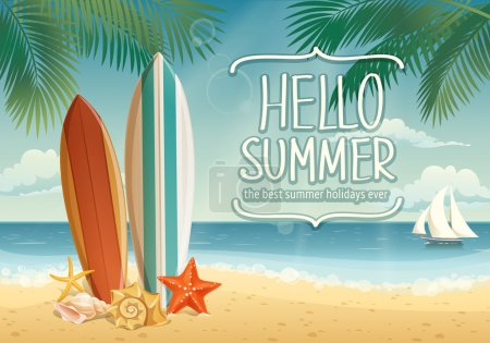 Summer background with surf boards