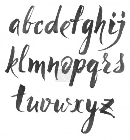 Alphabet written with brush pen.