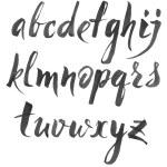 Hand drawn alphabet written with brush pen on whit...