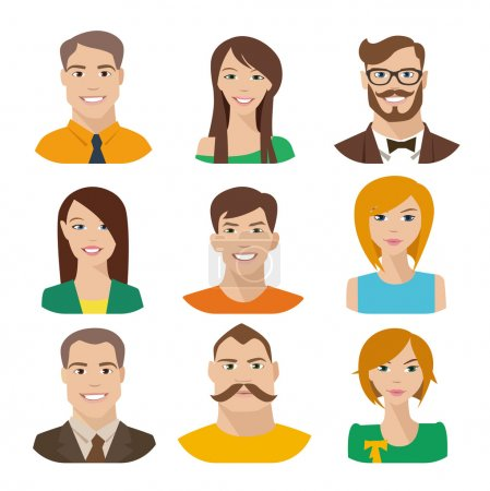 Illustration for Smiling happy people icons, set of vector avatars - Royalty Free Image
