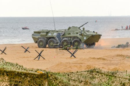 Attack the Marines with the support of armored vehicles on the sandy shores of the Gulf of Finland during the exercise. St. Petersburg, July, 2015.