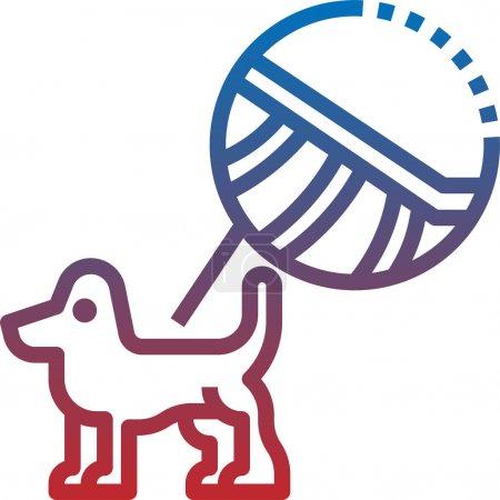 Illustration pour Icône radiographique pour chien en dessin animé isolé sur fond blanc. Illustration vectorielle du symbole de clinique vétérinaire . - image libre de droit