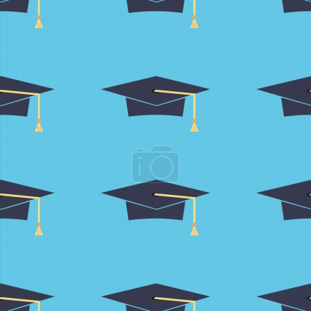 Graduation caps seamless pattern.