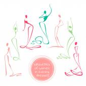 Collection of stylized silhouettes of dancing women