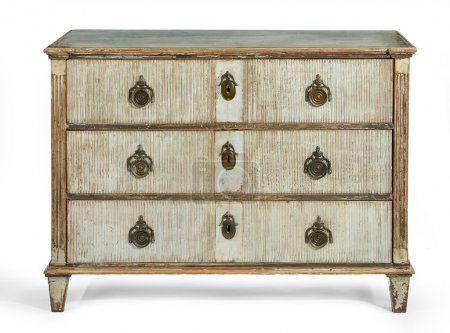 Photo for Old antique wooden painted chest of drawers European, french early 1900 isolated - Royalty Free Image