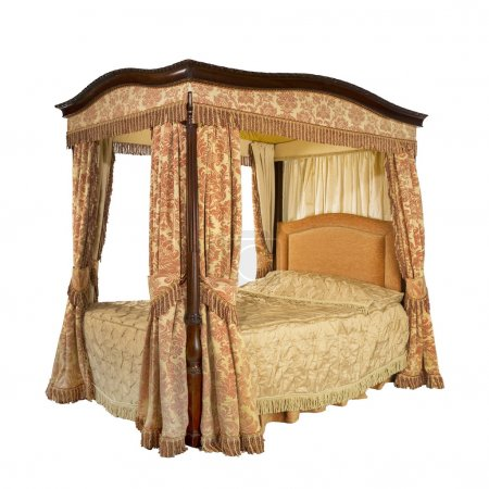 Four poster bed with isolated with clip path