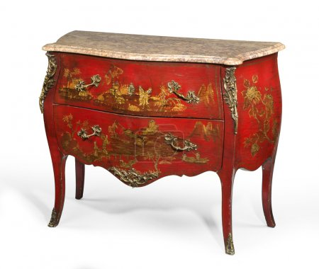 Photo for Old vintage antique chest of drawers known as commode  wood painted to look Japanese ormalu furniture and marble top isolated on white with clipping path - Royalty Free Image
