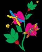Vážky a květina