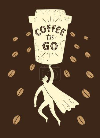 Coffee to go cartoon illustration