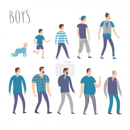 Set of cartoon males in various lifestyles and ages