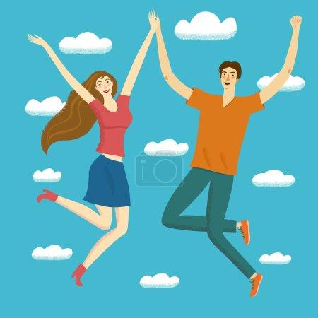 Illustration pour Joyeux garçon et fille sautant ensemble dans le ciel . - image libre de droit