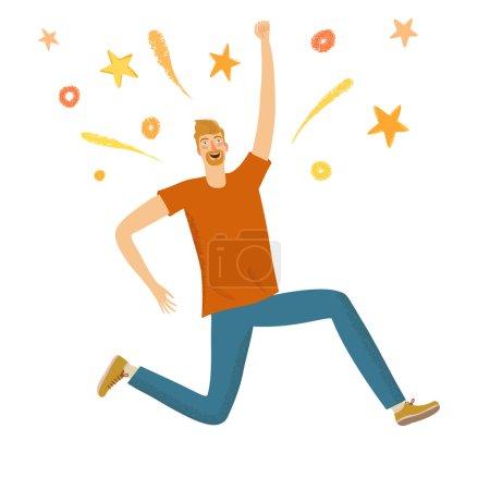 Illustration pour Joyeux garçon sautant avec des étincelles . - image libre de droit