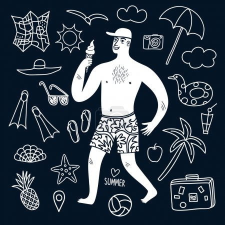 Summer vacation man and doodle illustrations set