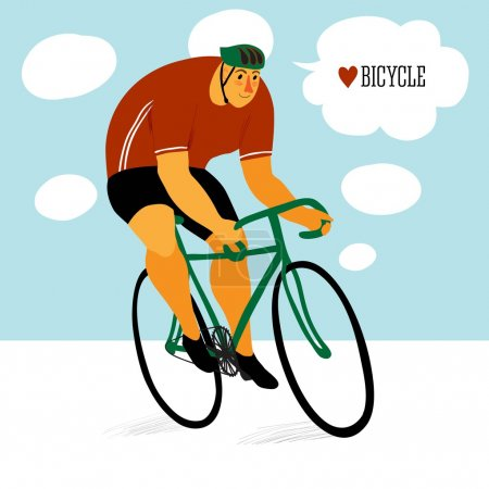 Illustration for Cute Racing cyclist in action - Royalty Free Image