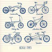 Hand drawn bicycle set
