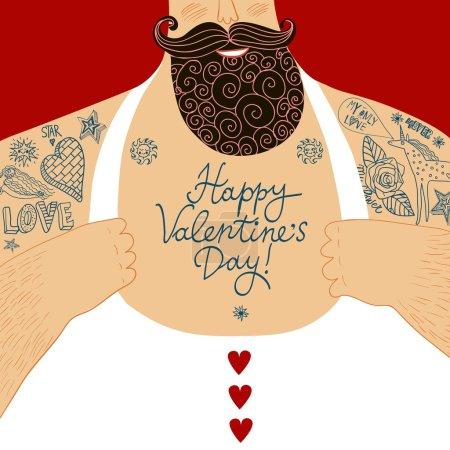 Vector Valentine's cartoon male chest