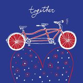 Lovely postcard with tandem bike