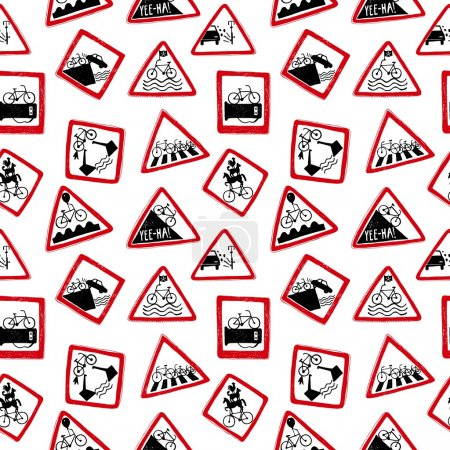 Illustration for Vector isolated funny doodle road signs for bicycle pattern. Seamless background - Royalty Free Image