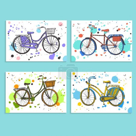 Colorful city bicycles set