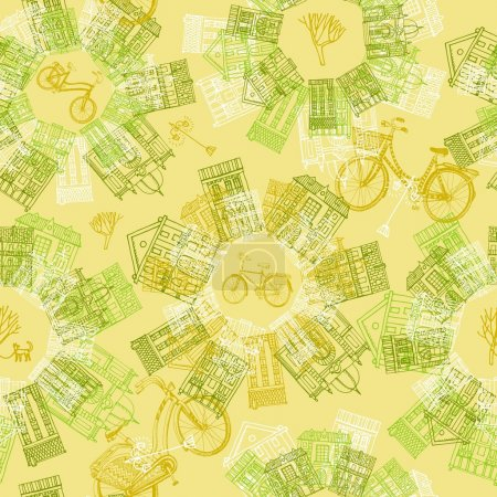 Hand drawn seamless pattern with old houses and cycles