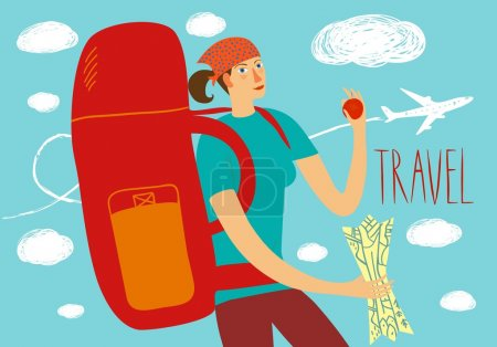 Illustration for Cartoon traveler girl with large backpack and map. Backpacker illustration - Royalty Free Image