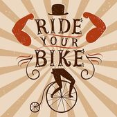 Hand drawn decorative textured vintage vector poster for bicycle Old style poster for your designRide your bike title