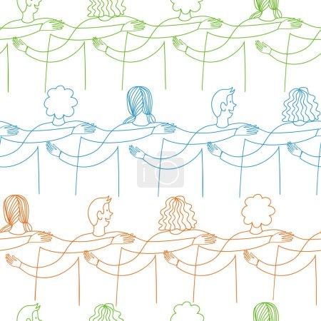 Happy friends doodle pattern