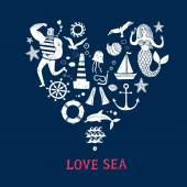 Sea icons grungy cartoon set with sailor lighthouse mermaid ship and other Heart shape postcard Illustrations for your design
