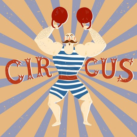 Circus performance cartoon illustration with power lifter.