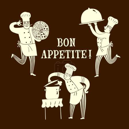 Illustration pour Chefs heureux dessinés à la main avec Bon Appetite title.Cook illustration pour votre conception - image libre de droit