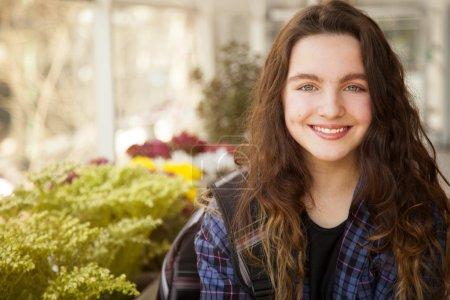 Smiling girl posing