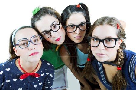 Teenage girls posing